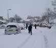 Kids playing in the snow on Birch Road