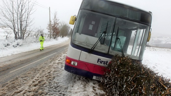 A bus came off the road near Killearn in Stirlingshire but nobody was injured. Credit: Andrew Milligan/PA Wire